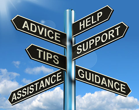 Advice help support tips assistance and guidance