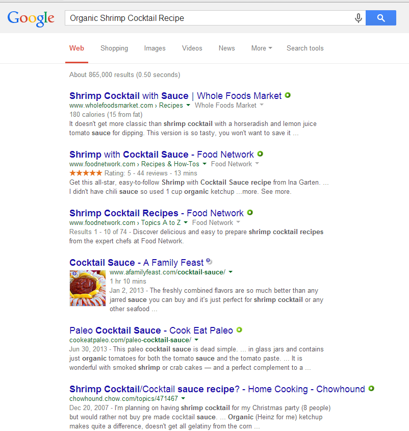 A search using the term organic shrimp cocktail