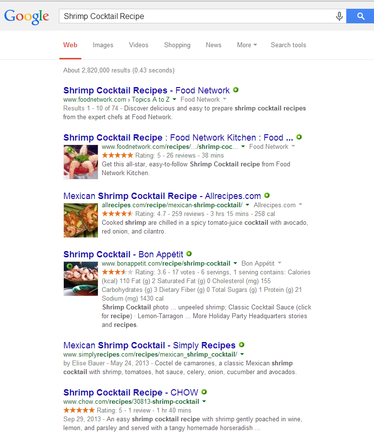 """Search example using the term """"Shrimp Cocktail"""""""